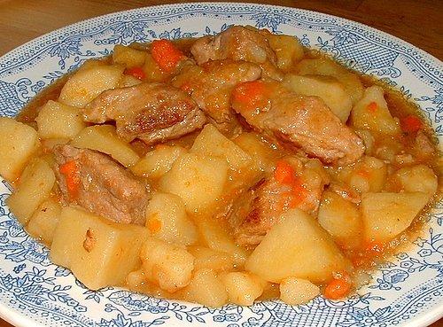 рецепт картофель тушеный с мясом как детском саду