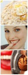 Геркулесовая каша, чистка зубов от налёта пальцем, грецкие орехи