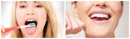 Чистка языка и чистка зубной нитью между зубов
